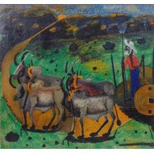 José Antonio da Silva - Carro de Boi - OST - ass. cie - 1955 - 56x60 cm.