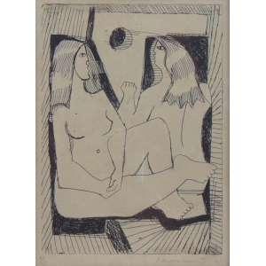 DI CAVALCANTI - Duas Moças - gravura em metal - ass. cid - 1961 - 30/75 - 23x17 cm