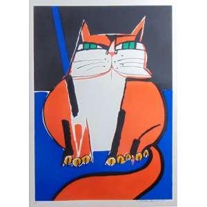 Aldemir Martins - Gato Vermelho - serigrafia - H.C. - ass. cid - 1987 - 65x46 cm.