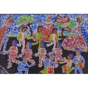 Maria Auxiliadora - Escola de Samba Vila Marina - guache s/ cartão - ass. cie - 1970 - 16x23 cm.