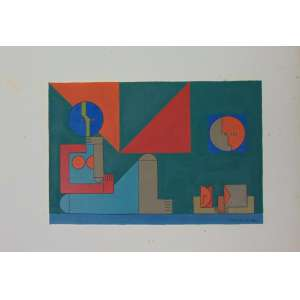 Dionísio Del Santo - S/T - guache sobre papel - ass. cid - 1982 - não emoldurado - 21 x 31 cm.