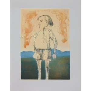 ALDEMIR MARTINS - Menino de shorts - gravura em metal - ass. cid - 85/100 - 1975 - 78x52 cm - não emoldurada - pequenas manchas amareladas no paspartur da gravura e marca de dobra no canto inferior direito do paspartur.