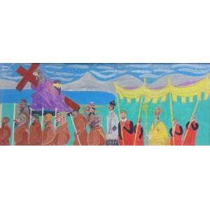 Carlos Lousada - Procissão - Têmpera sobre madeira - Ass. 22 x 54 cm.