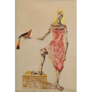 GRACIANO - Moça com Pássaro - guache s/ cartão - ass. cie, Natal 1968 - 33x23 cm.