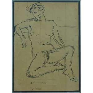 QUIRINO DA SILVA - Nú Feminino - nanquim s/ cartão - ass. centro inf. - 1936 - 28x20 cm.