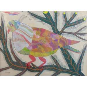 Chico da Silva - Pássaro - guache s/ cartão - ass. cie - c.década 1950 - 54x72 cm.