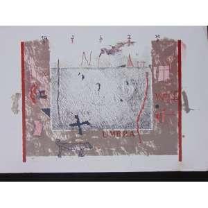 Ubirajara Ribeiro - Umbra - litografia - 12/100 - ass. cid - 1998 - 50x72 cm - não emoldurada - certificado/foto emitido pelo Clube da Gravura, Av. Pacaembu SP - marca de dobra no canto superior direito do paspartur da gravura.
