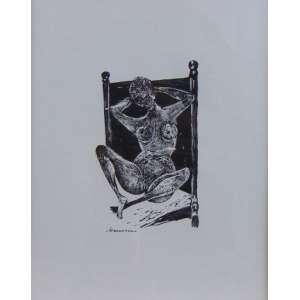 Hansen Bahia - Mulher deitada - Xilogravura - ass. inferior esquerdo - 20 x 12 cm.