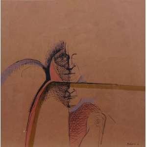 ALEX VALLAURI - S/T - técnica mista s/ papel - ass. cid - 1970 - 24x24 cm.
