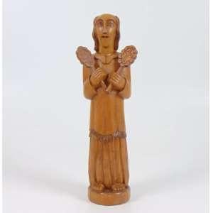 Mestre Dezinho (José Alves de Oliveira) - Figura com palmas - Escultura em madeira - Ass. 30 cm alt.