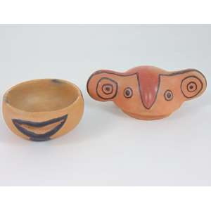 Arte Indigena - Pote com tampa em cerâmica em forma de figura mitológica - alto Xingu - Etnia Waujá - 13 x 22 x 15 cm.
