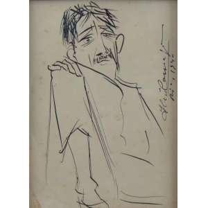 IBERÊ CAMARGO - Fig. Masculina - nanquim s/ papel - ass. lateral direita - Rio 1940 - 22x16 cm.