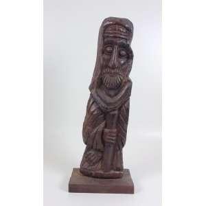 Bolão - Figura com Cajado - Madeira entalhada - assinada - 61 x 17 x 7 cm.