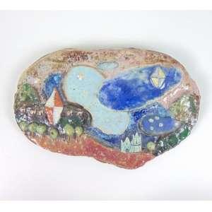 Pennacchi - Aldeia com Balões - relevo em cerâmica esmaltada - ass. verso - 14x22x2 cm.