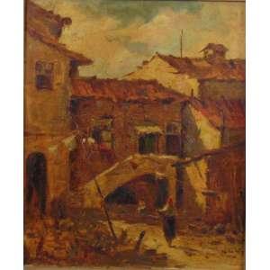 Durval Pereira - Casario com figura - OST - Ass. CIE - 1949 - 54 x 45 cm.