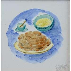 MARIA WROCHNIK - OSIRARTE - S/T - pintura s/ azulejo esmaltado - ass. centro direito - 15x15 cm.