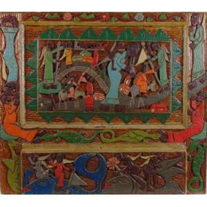 Romildo Ferreira de Albuquerque - sem título - madeira entalhada e pintada - Ass. 77 x 69 cm.