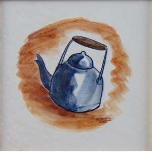 MARIA WROCHNIK - OSIRARTE - Chaleira - pintura s/ azulejo esmaltado - ass. centro direito - 15x15 cm.
