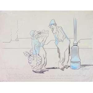 J.Carlos - Os Maltrapilhos - Desenho a Nanquim - ass. - ex-coleção Miguel Paranhos do Rio Branco e Elza de Brito e Cunha (filha do artista). 24 x 35 cm.