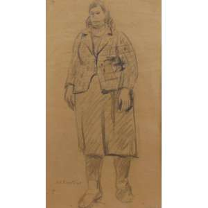 RIZZOTTI - Fig. Feminina - crayon s/ papel craft - ass. cie - 1940 - 42x25 cm.
