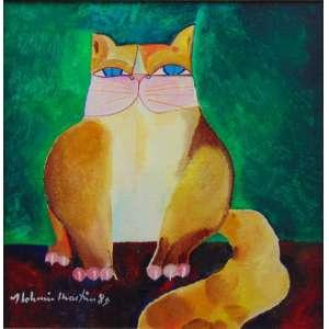 ALDEMIR MARTINS - Gato , acrílica sobre tela A/C/E 1989 - 30 x 30 cm.
