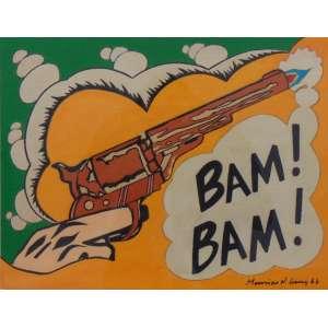 MAURICIO NOGUEIRA LIMA - 1968 - CID - Bam Bam , guache sobre cartão - 28 x 36 cm. Acompanha certificado do projeto do artista.
