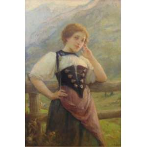 LENOIR Charles Amable - Camponesa - OST - 80 x 55 cm alt. (22 de outubro de 1860 - 1926) .Importante artista do Sec XIX, com altas cotações no mercado internacional . Aluno de William-Adolphe Bouguereau virou um excelente pintor de retratos e figuras ficando assim mundialmente conhecido