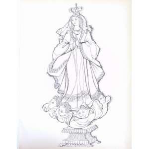 Carlos Bastos - Nossa Senhora Desenho a nanquim assinado - 37 x 27 cm