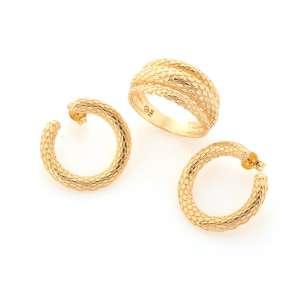 VIVARA - Conjunto de anel e par de brincos de ouro amarelo 18k. Cerca de 11,2g. Medida do anel 19. Acompanha estojo.