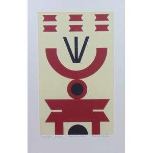RUBEM VALENTIM - Emblema vermelho - Serigrafia - 33/70 - Ass.dat - 1970 - 40 x 24 cm.