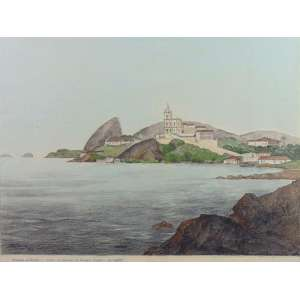 ARMANDO VIANA - Enseada da Glória - Desenho a lápis e aquarela - CIE - dat 1964 - 45 x 60 cm. Cópia da gravura de Thomas Ender - Rio em 1817