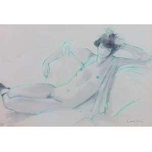 CARLOS LEÃO - Nu Feminino - Crayon e nanquim - CID - 35 x 52 cm.