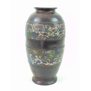 Vaso em Bronze com esmalte Cloisonne - 30 cm alt, 14 diâm . China Sec XIXXX