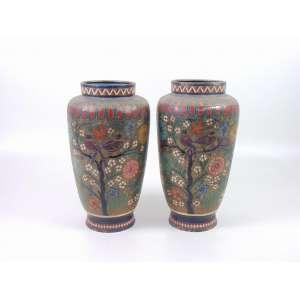Importante par de vasos bronze e esmalte Cloisonne decoração floral - 38 cm alt, 20 cm diâm. China Sec XIX.