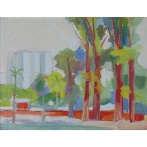 MARIO ZANINI (Atribuído) - Paisagem com árvores e prédios - OST - Sem assinatura - Declaro que está obra é autoria de Mario Zanini - F.Rebolo 664/8 - 35 x 45 cm.