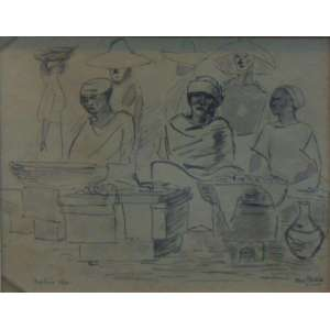 Goeldi, Oswaldo - Vendedoras de Acarajé - tec. mista sobre papel / Cid - 1941 - 23 x 28,5 cm - Etiqueta da Dan Galeria no verso.