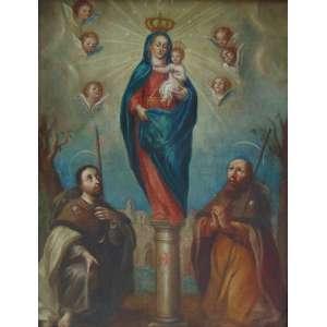 Bela Escola Cusquenha - Virgem de Pillar - OST - 100 x 77 cm. Perú - Sec XVIII . A Nossa Senhora do Pilar é uma invocação mariana católica, padroeira da Hispanidade, venerada na Catedral-Basílica de Nossa Senhora do Pilar, em Saragoça, na Espanha.
