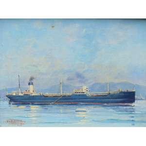 DAKIR PARREIRAS - Marinha - Iconogáfico RJ - OST - CIE - Dat e localizado Rio 1944 - 44 x 59 cm. (pequeno furo na tela)