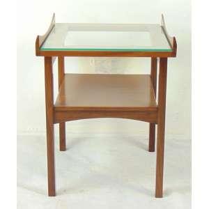 Mesa auxiliar de madeira de lei e tampo de vidro - Dec 50 - 54 cm alt, 45 X 42 cm.