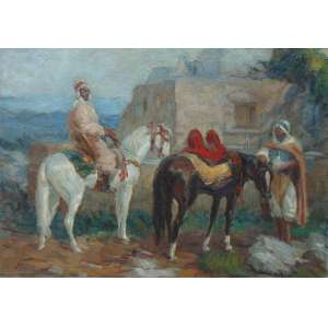 Ass. Ilegível - Figuras - OST - Árabes em seus cavalos, 65 x 92 cm. (Tela no estado)