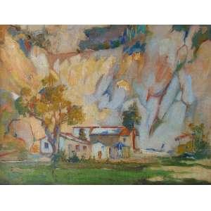 GAGARIN Príncipe - Paisagem com casas - OST - CID - 36 x 48 cm.