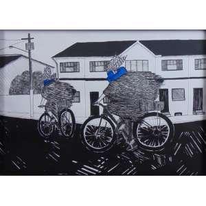 ULISSES GARÇEZ - Da Série Caiapós de cara azul - 1011 - Nanquim e tinta - acrílico sobre papel - 41 x 58 cm.