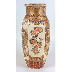 Vaso de cerâmica decoração padrão Satsuma . Japão Sec XIX - 46 cm alt, 18 cm diâm.