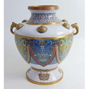 Vaso em bronze com fino esmalte Cloisonee - 39 cm alt, 28 cm diâm. China Sec XX