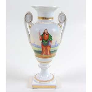 Ânfora de porcelana esmaltada decorada com imagem de profeta , manufatura Velho Paris. França Sec XIX. - 25 cm alt.