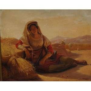 JEAN CLAUDE BONEFOND – Figura feminina - OST / CIE - 32 x 40 cm. Bonnefond nasceu na cidade francesa de Lyon em 1796. Ele estudou sob Pierre Révoil (1776-1842) e tornou-se bem sucedido em representar cenas da vida camponesa. Por volta de 1826 ele foi para Roma e pintou temas sagrados e de gênero no realista e Em 1831, tornou-se diretor da escola de arte de Lyon e, em 1837, membro da Academia. Morreu em Lyon em 1860. Trabalho em museu: Paris, Lyon, Morez, Saint-Etienne, Hanover, Compiègne, New York, Richmond.