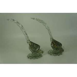 Par de Faisões de vidro artístico de Murano ( pequena lasca em um dos bicos) - 33 cm de alt.
