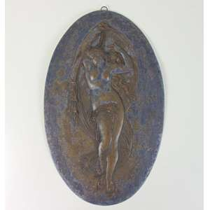 Placa de metal espessurada a prata estilo e época Art Noveaux assinada - 45 x 28 cm. França Séc XIX