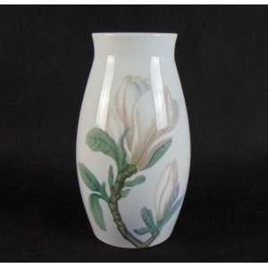 Vaso em porcelana decoração flor - 22 cm alt,11 cm diâm.
