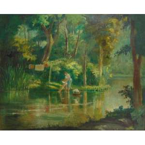 ASSINATURA ILEGÍVEL - Paisagem com figuras - OST/CID - 77 x 96 cm. (moldura no estado)